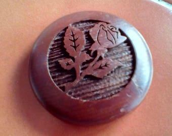 Vintage Wooden Rose engraved fridge magnet refrigerator