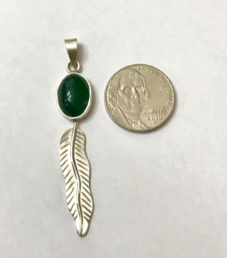 Silver Feather Pendant Handmade Pendant Sterling Silver Pendant Green Onyx Pendant