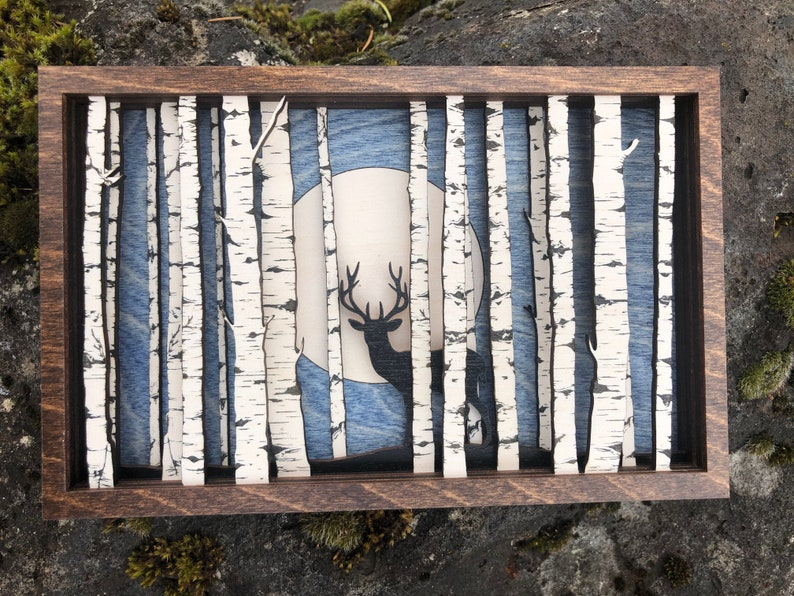 Deer in Birch Forest 3D Wood Shadow Box Scene / Intricately image 0