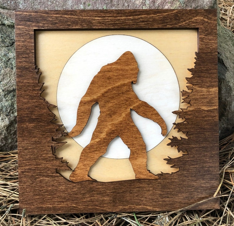Sasquatch BIGFOOT in Forest 3D Wood Shadow Box Scene / Laser image 0