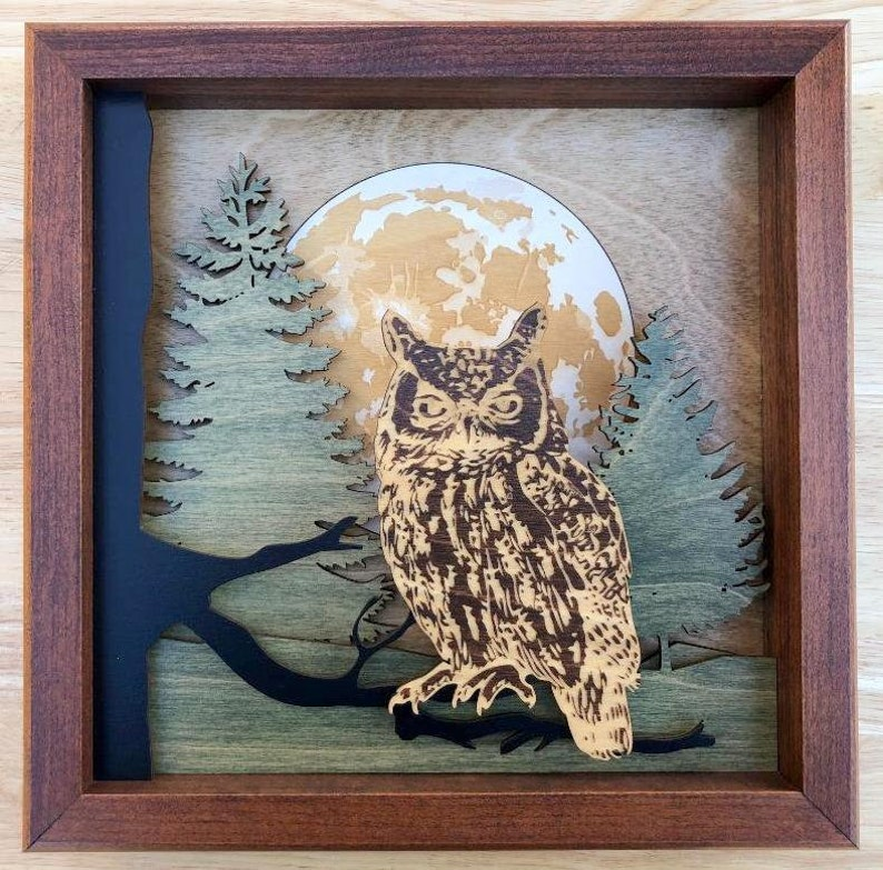 Owl in Forest 3D Wood Shadow Box Scene / Laser Cut image 0