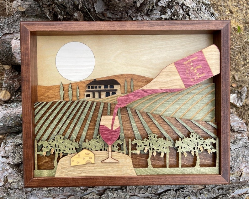 Vineyard Tuscany Landscape 3D Wood Shadow Box Scene / Wine image 0