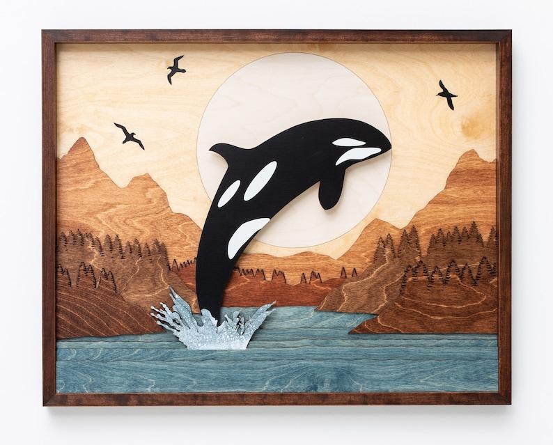 Orca Whale Ocean Seascape 3D Wood Shadow Box Scene / Laser Cut image 0