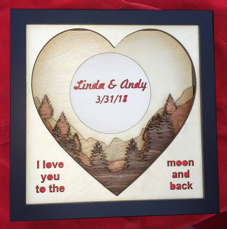 Personalized 3D Laser Cut Shadow Box Wood Scene Inlaid image 0