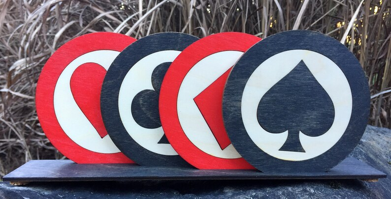 Suited Card Coaster Set / Heart Spade Club Diamond /  Inlaid image 0