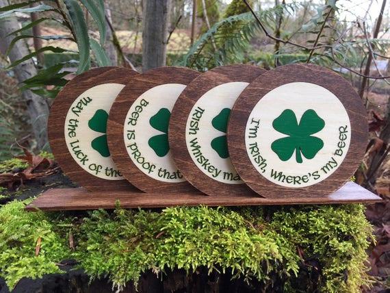 Shamrock Irish Lucky Clover Set of 4 Coasters