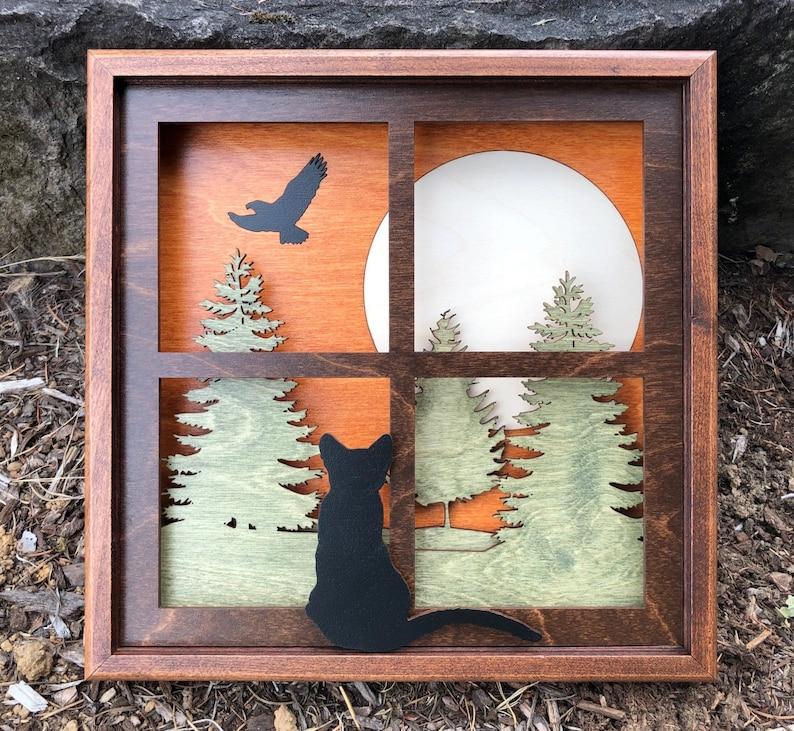 Black Cat in Window 3D Wood Shadow Box Handcrafted Scene / image 0