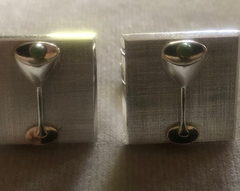 Linda Hesh Martini or Champagne sterling silver Vintage cufflinks Artist made and sold