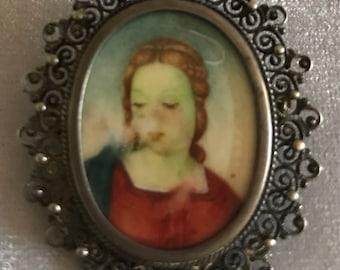 Vintage Sterling Frame Portrait of the Madonna