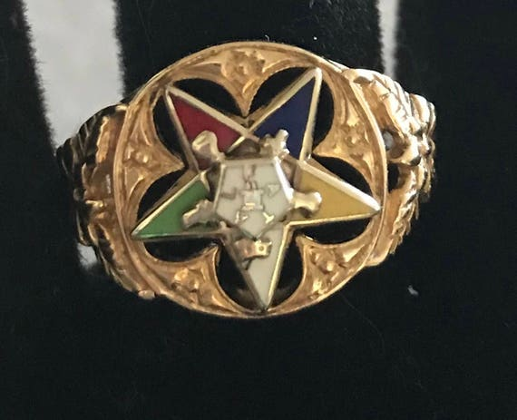 Vintage 10K Ladies of the Eastern Star Masonic Ring