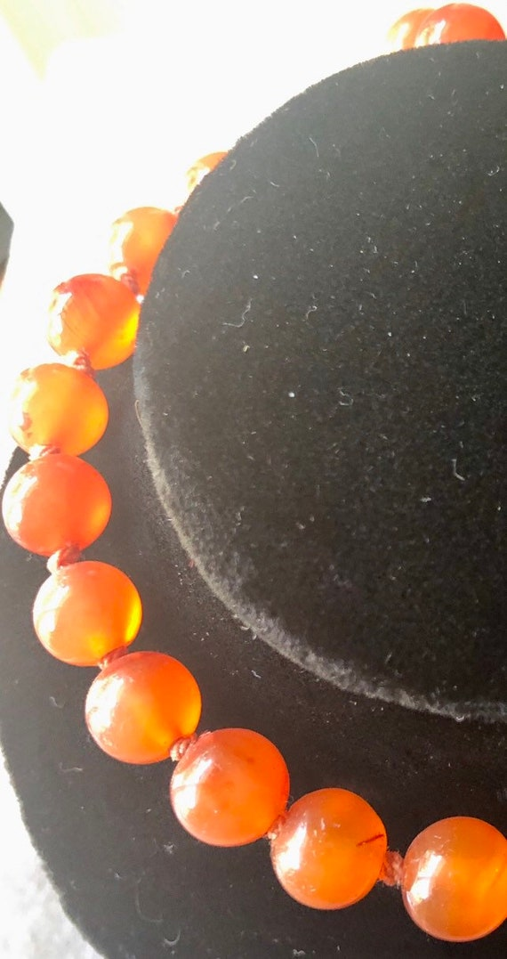 Vintage 10K Natural Carnelian Pearl Necklace