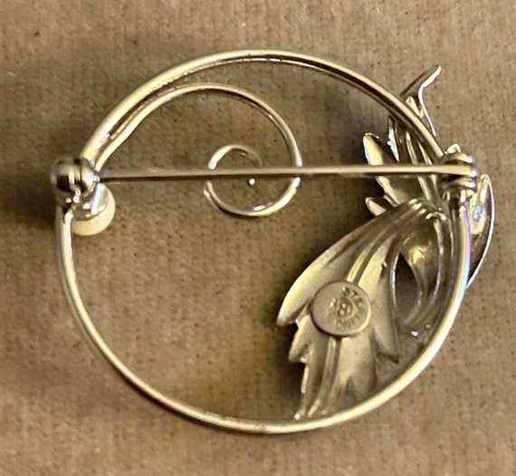 Vintage Sterling and Genuine Pearl Coro Craft Bro… - image 2