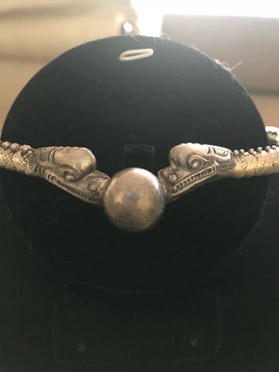 Vintage Silver Dragon Pearl Necklace