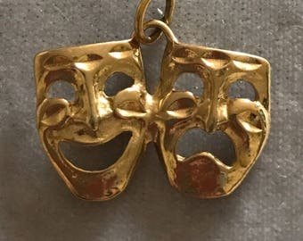 Vintage Large 14K Comedy and Tragedy Dama Mask Pendant