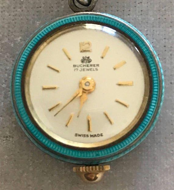 Vintage Bucherer Guilloche Blue Enamel 17 Jewels S