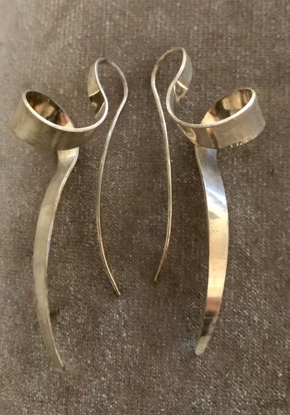 Sterling Abstract Spiral Earrings