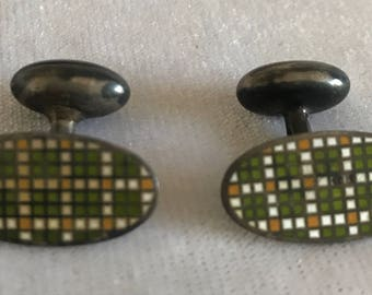 Vintage White Green Yellow Checkered Cufflinks