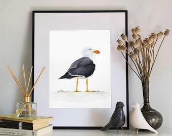 Seagull Watercolour Print, 5x7 or 8x10