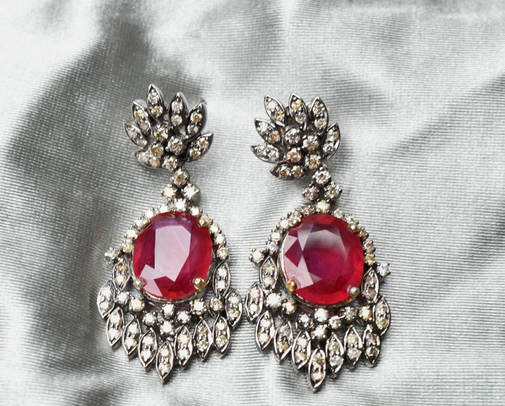 Ruby and Diamond Earring in Silver Oxidized Silver Vintage