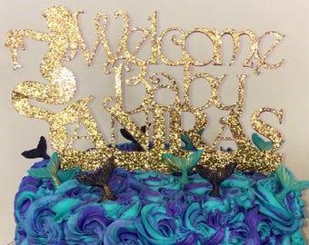 Mermaid Baby Shower Cake Topper