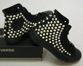Genuine CONVERSE Monocrome-Black with Gold studs All-star Chuck Taylor Sneakers Sheos