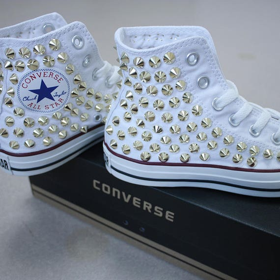 Echt CONVERSE wit met studs alle ster Chuck Taylor sneakers Sheos