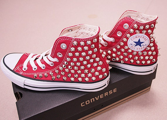 Genuine CONVERSE Red with studs All star Chuck Taylor Sneakers Sheos