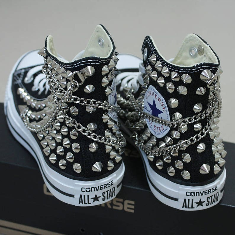 8adfb0c1e8879a Genuine CONVERSE Black with studs   chains All-star Chuck