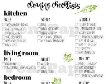 CLEANING CHECKLIST Instant Download // Cleaning Checklist // Cleaning Schedule // Home Management // Cleaning List // Weekly Cleaning List