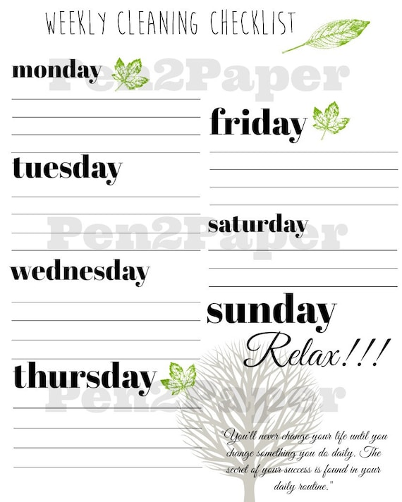 Weekly Cleaning Checklist Blank Instant Download Cleaning Etsy