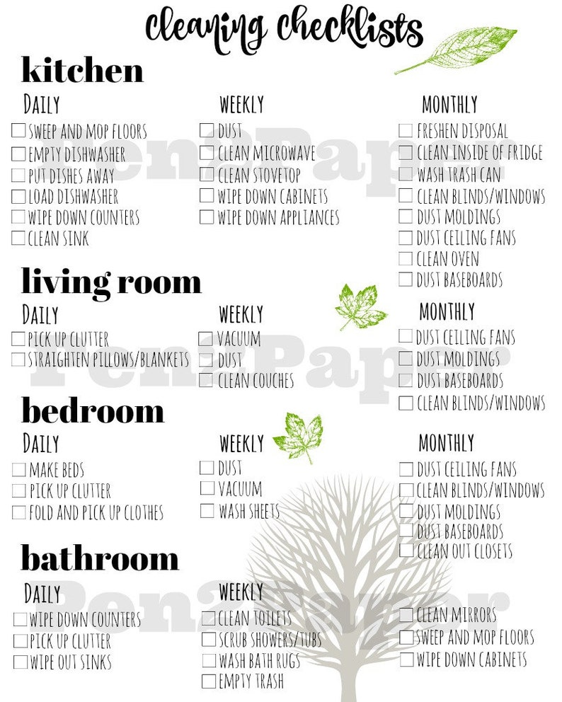 CLEANING CHECKLIST Instant Download // Cleaning Checklist // image 0