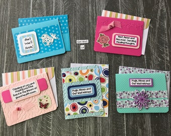 GetWell Set 14 -Each card is handmade w/matching envelopes, 5 different cards for 7 dollars. Added bling, and embellishments.