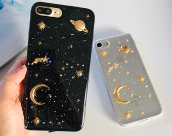 clear iphone case etsygold moon stars planet glitter soft phone case for iphone 5 5s se 6 6s 6plus 7 8 7plus xr 8 8plus x xs max clear or black valentines gift a