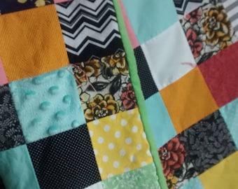 Patchwork Square Baby Quilt - Baby Quilt - Crib Size - Handmade - Gender Neutral - Baby Shower Gift