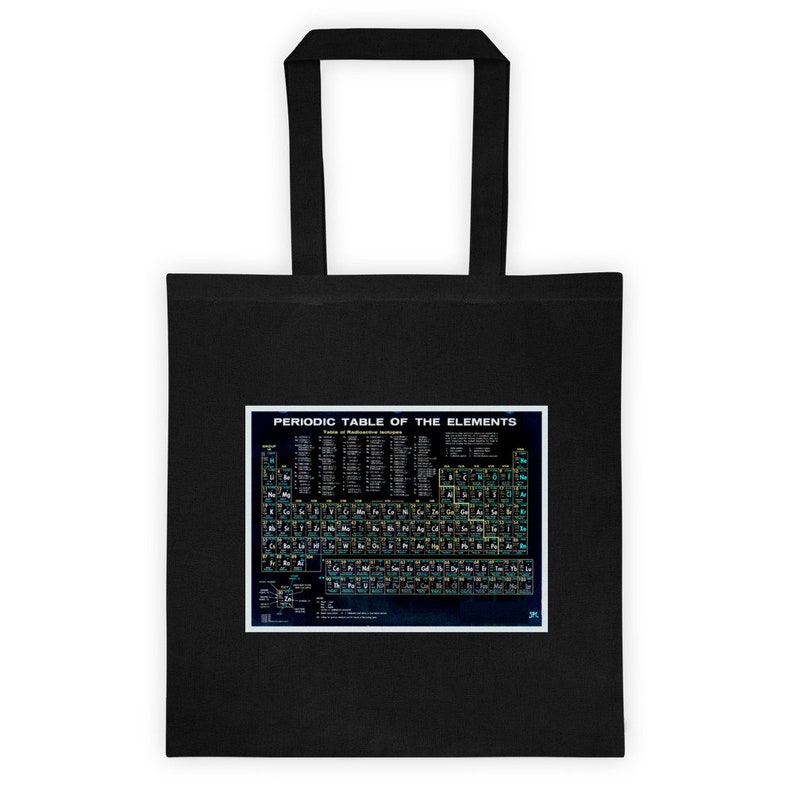 Periodic Table Of The Elements Vintage Chart Black Tote bag