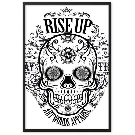 Rubino Rise Up Skull BW Framed matte paper poster