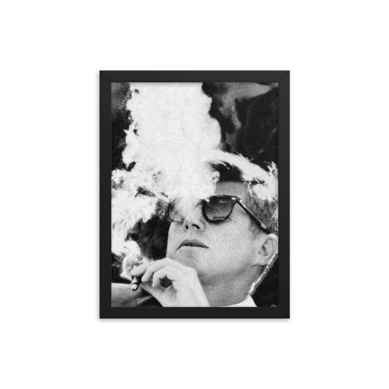 36c69c64b5a JFK Cigar and Sunglasses Cool President Photo Framed poster
