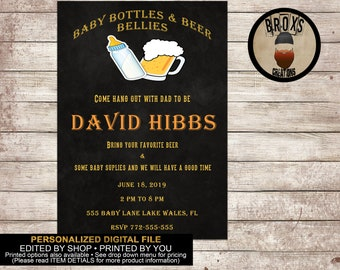 Beers and bellies baby shower invitation