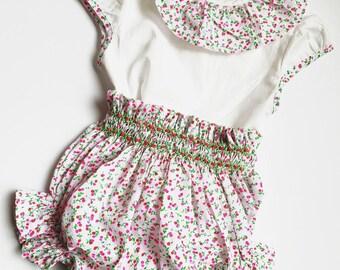 afdd83b6b67 Set BETINA Bebe Petite girl blouse and Bloomer smocked at embroidered