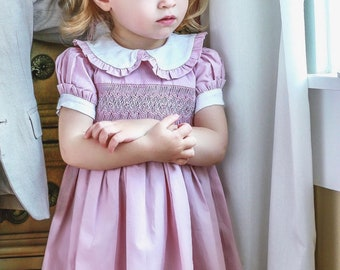 c62f4100 CHLOÉ smock dress for girl, pink puff sleeves, white collar, handmade  embroideries, summer dress, special occasion, summer.