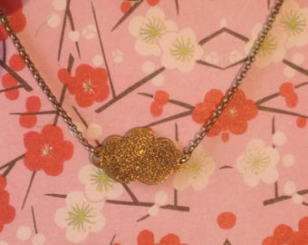 bronze colored metal cloud necklace