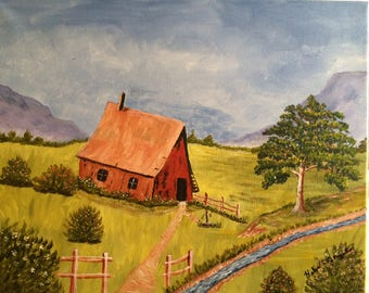 """Painting """"Red Barn"""""""