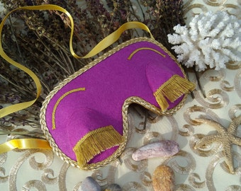 Lovely sleep mask in purple color in Breakfast at Tiffany's style (Holly Golightly)! Perfect hanmade gift for women!