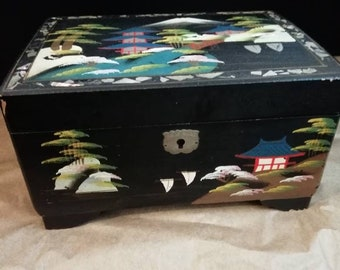 Carillon Box Jewelry Boxes Japanese vintage inlaid mother of pearl
