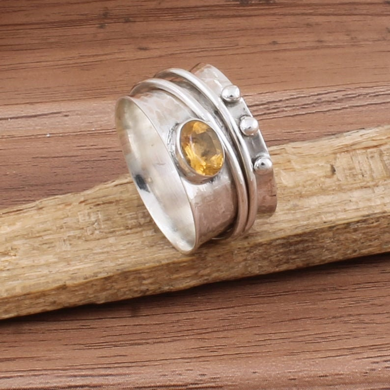 925 Sterling Solid Silver Spinner Citrine Rings Natural Citrine Semi Precious Stone Spinner Ring Citrine Spinner Ring Spinner Rings