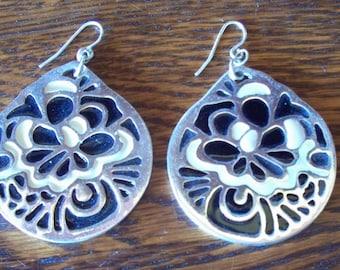 Silver Enameled Black and White Earrings