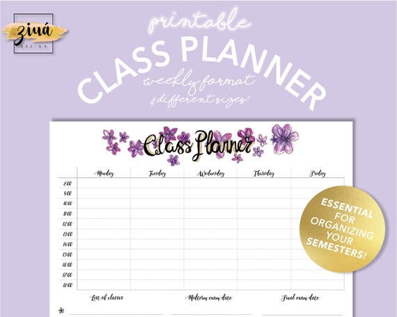 Weekly Class Planner Instant Download Academic