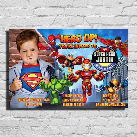Marvel Superhero Kids Birthday Invitation