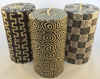 Patterned Ethnic Pillar Candles - Resuable Large handmade Fair Trade Pillar Candles from Swaziland