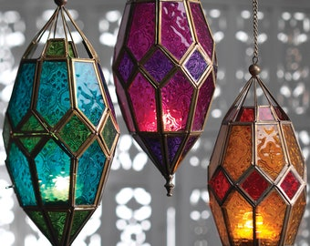 Moroccan Style Glass Lanterns | hanging colourful glass lamp | ethical tea light holder